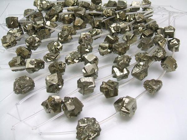 画像1: パイライト10〜12mm原石ラフビーズ小5個セット